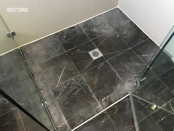 Etched Marble Shower