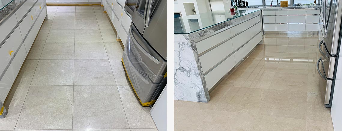 Marble Floor Polishing Before and After Shot in Sydney