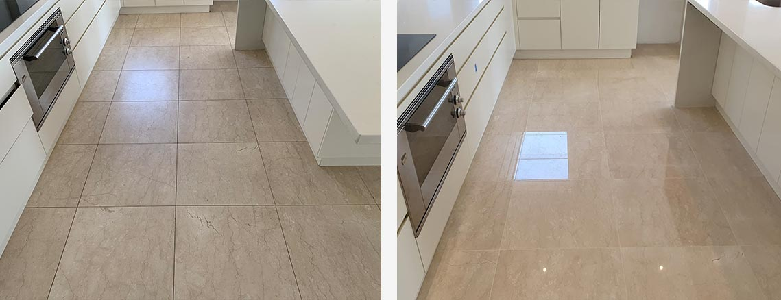 Stone Floor Polishing Before and After Photo in Sydney