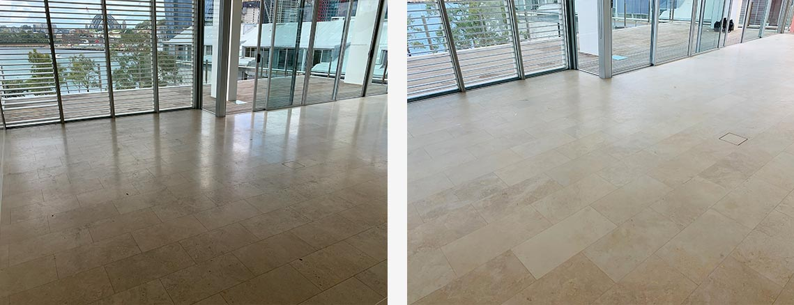 Marble Floor Restoration Before and After Photo in Sydney